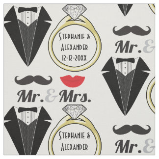 Your Name Mr Mrs Lips Mustache Ring Tuxedo Wedding Fabric