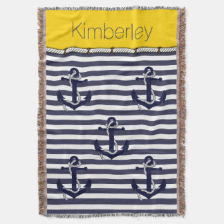 Your Name Nautical Anchor Chic Stripes Pattern