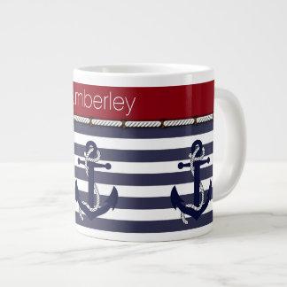 Your Name Nautical Anchor Chic Stripes Pattern Jumbo Mug