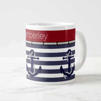 Your Name Nautical Anchor Chic Stripes Pattern Large Coffee Mug