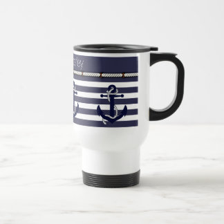 Your Name Nautical Anchor Chic Stripes Pattern Stainless Steel Travel Mug