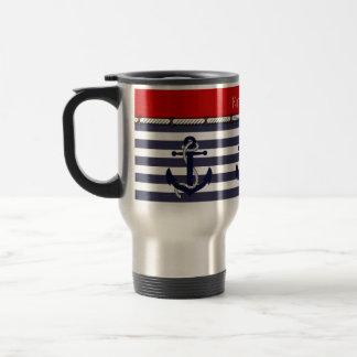 Your Name Nautical Anchor Chic Stripes Pattern Travel Mug