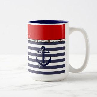 Your Name Nautical Anchor Chic Stripes Pattern Two-Tone Mug