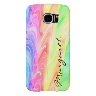 Your Name on Rainbow of Swirling Geometric Shapes Samsung Galaxy S6 Cases