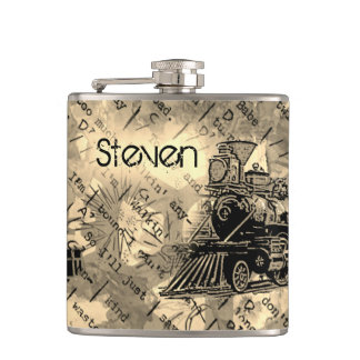 Your Name on Retro Locomotive Flask