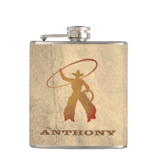 Your Name on Ropin'' Cowboy Flask