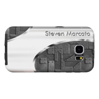 Your name on sturdy faux silver and gunmetal samsung galaxy s6 cases