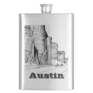 Your Name on this desert scene Flask