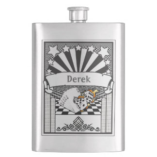 Your Name on this Flaming Dice and Cards Flask