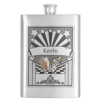 Your Name on this Flaming Dice Flask