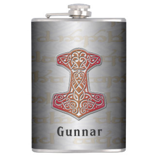 Your Name on this Red Mjölnir Flask