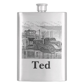 Your Name on this Retro Truck Flask