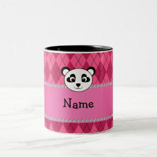 Your name panda bear head pink argyle mugs