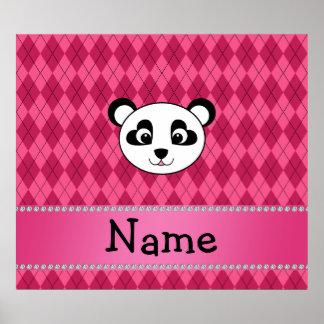 Your name panda bear head pink argyle print