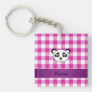 Your name panda bear head pink gingham checkers key ring