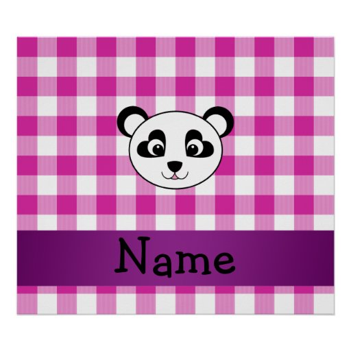 Your name panda bear head pink gingham checkers poster
