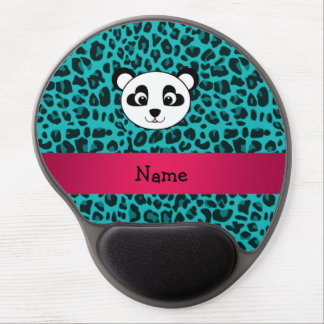 Your name panda bear head turquoise leopard gel mouse pad