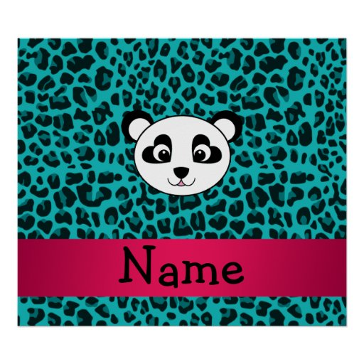 Your name panda bear head turquoise leopard poster
