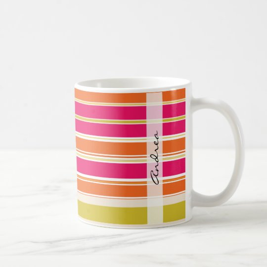 Your Name - Pattern Of Stripes - Orange Pink Coffee Mug