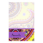 Your Name - Persian Paisley, Dots - Yellow Blue Stationery
