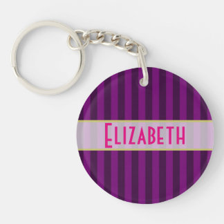 Your Name Personalized on a Purple Striped Pattern Key Chains