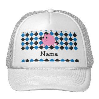 Your name pig black blue argyle hat