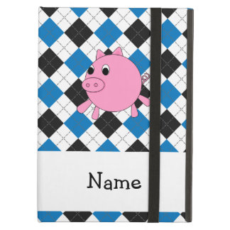 Your name pig black blue argyle iPad folio cases