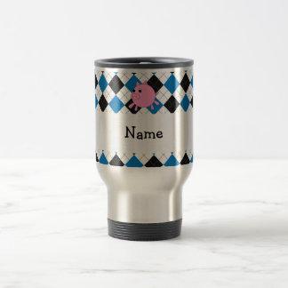 Your name pig black blue argyle mugs