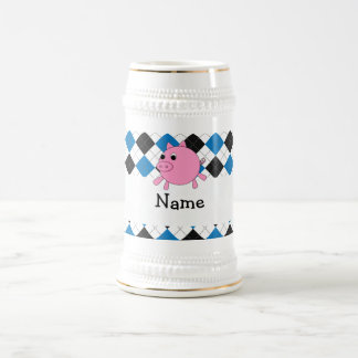 Your name pig black blue argyle coffee mug