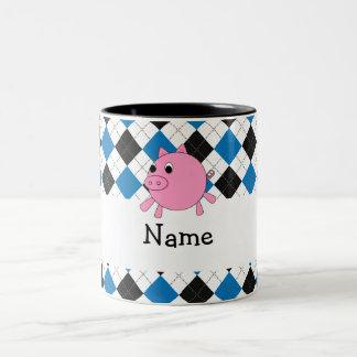 Your name pig black blue argyle coffee mugs