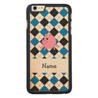 Your name pig black blue argyle carved® maple iPhone 6 plus case