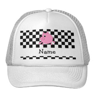 Your name pig black white checkers mesh hat