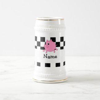 Your name pig black white checkers mug