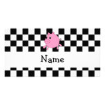 Your name pig black white checkers picture card
