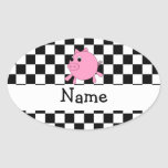 Your name pig black white checkers stickers