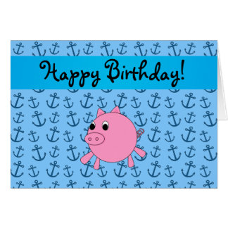 Your name pig blue anchors pattern greeting card