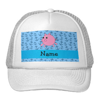 Your name pig blue anchors pattern mesh hats