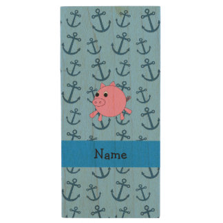 Your name pig blue anchors pattern wood USB 2.0 flash drive