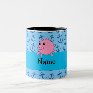 Your name pig blue anchors pattern coffee mug