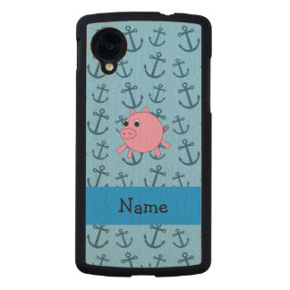 Your name pig blue anchors pattern carved® maple nexus 5 case
