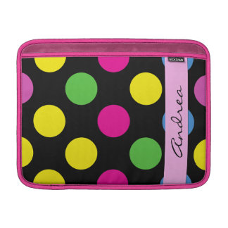 Your Name - Polka Dots, Dotted Pattern - Pink MacBook Sleeve
