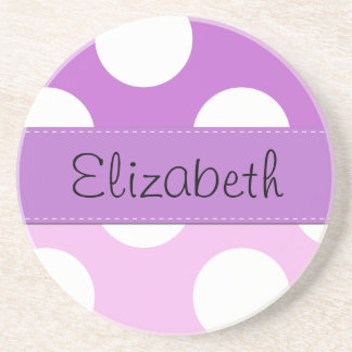 Your Name - Polka Dots, Spots - Pink Purple White Beverage Coasters