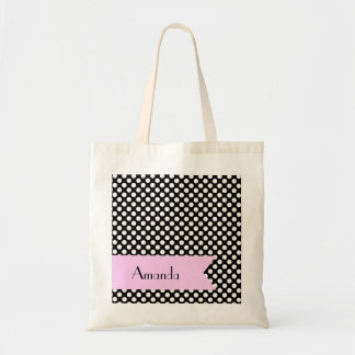 Your Name - Polka Dots, Spots - White Black Pink Budget Tote Bag
