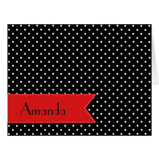 Your Name - Polka Dots, Spots - White Black Red Cards