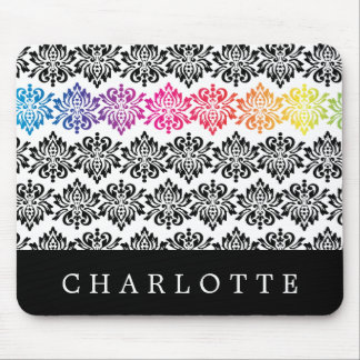 Your Name Rainbow Damask Mouse Pad