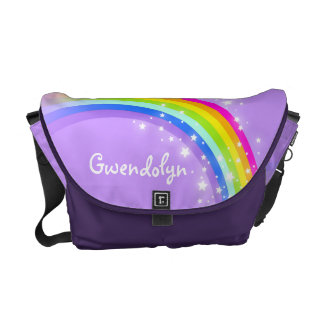 """your name"" rainbow purple kids school messenger bags"