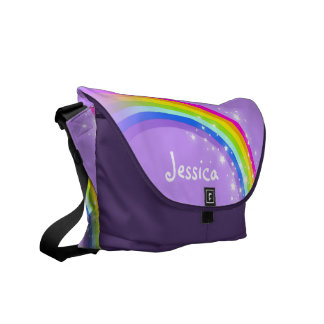 """your name"" rainbow purple kids school commuter bag"