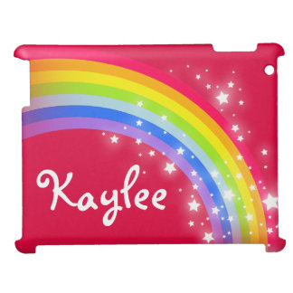 """""""your name"""" rainbow red kids ipad case"""