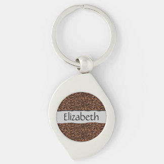 Your Name - Roasted Arabica Coffee Beans - Brown Silver-Colored Swirl Key Ring