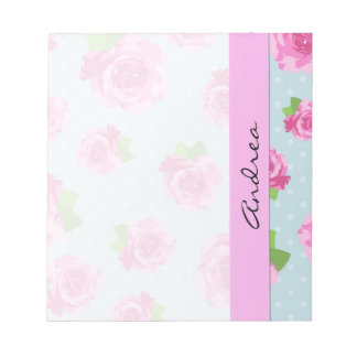 Your Name - Shabby Chic, Polka Dots, Roses - Pink Notepads